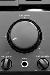 The volume control of a stereo system.