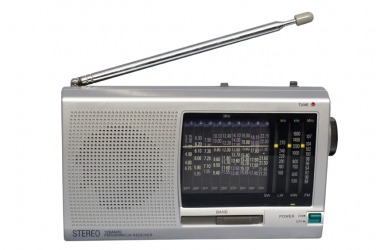 A small portable radio.