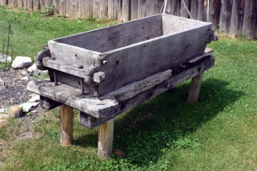 A wooden trough.