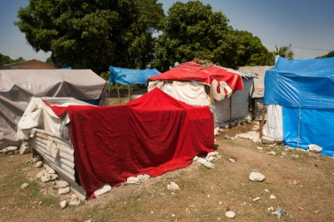 This refugee camp is an example of displacement.