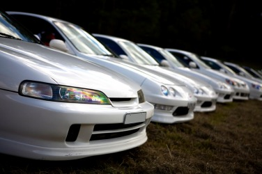 A succession of white cars.
