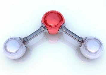 A model of a water molecule.