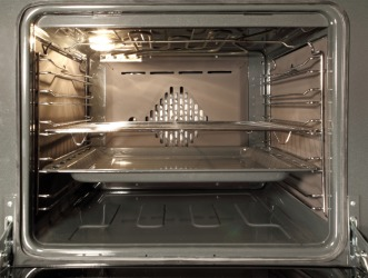 The interior of a convection oven.