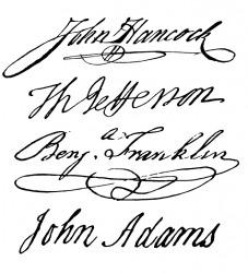 Four famous autographs.