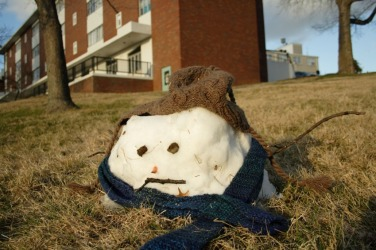 Warm weather has caused a decrease in this snowmans size.
