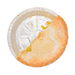 This pie has been cut along its diameter.
