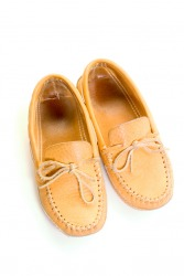 A pair of leather moccasins.