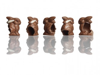 Hollow chocolate Easter bunnies.