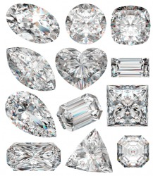 Diamonds of different shapes.