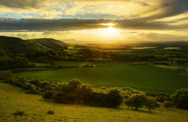 Sunset over a shire.