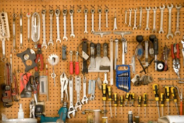 A whole wall of tools.