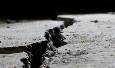 A crack in the ground.