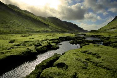 A creek running through a valley.