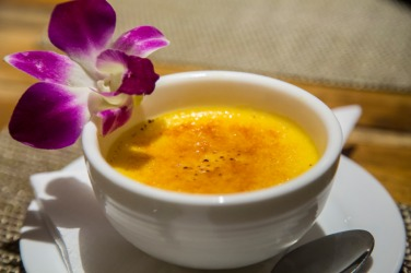 A delicious looking creme brulee.