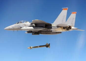 An F-15E Strike Eagle drops it's payload during a Combat Hammer mission.
