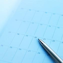 A monthly calendar.