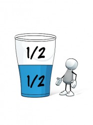 He sees the glass as half empty instead of half full because of his pessimism.