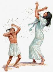 A pestilence of flies surrounding an Egyptian woman and child.
