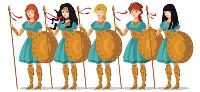 The phalange of women warriors were prepared for battle.