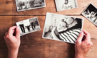 Sorting through family photographs.