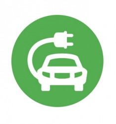 The pictogram indicates an electric car charging station.