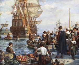 Pilgrims departing on the Mayflower
