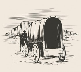 Pioneers would sometimes travel in covered wagons when they headed into the western prairies.