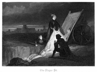 Mass burial during the plague in London.
