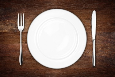 Dinner plate setting with fork and knife