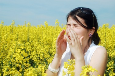 A woman with a pollen allergy.