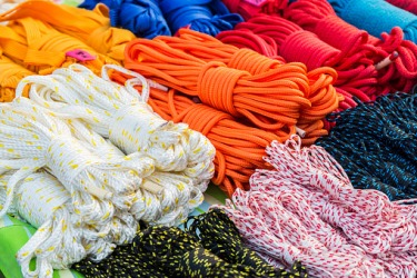 These assorted nylon ropes are examples of a polyamide.