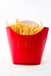 These shoestring french fries are called pommes frites in France.