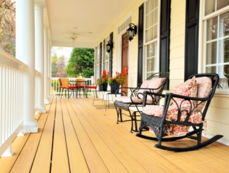 Rocking chairs on a front porch.