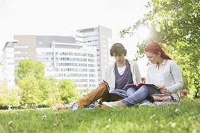 College students studying on campus at a postsecondary school.