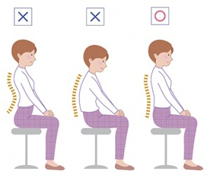 An illustration of the types of bad posture and good posture while sitting in a chair.