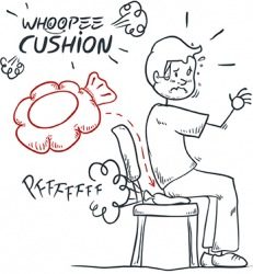 If you want to play a good prank on someone, place a whoopee cushion on his chair.