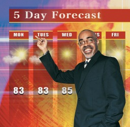 The weatherman predicts the 5 Day Forecast.
