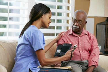 Alfred's arthritis medicine has a pressor effect, so he has his blood pressure monitored by a home health nurse.