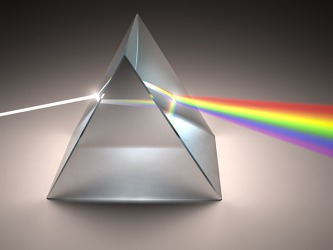 White light passing though a prism creates the full spectrum of prismatic colors.