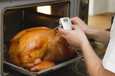 A person putting a probe thermometer into a turkey to check the temperature for doneness.