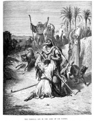 Vintage engraving of a scene from the New Testament by Gustave Dore showing the Prodigal son in his fathers arms.