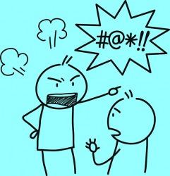 Yelling at someone using profanity.