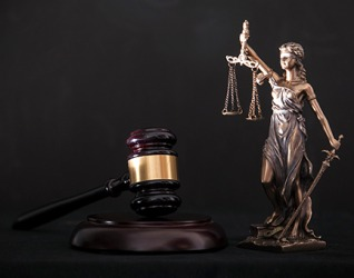 The symbols of Themis and the gavel represent the professional ethics of the judicial system.