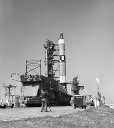 Gemini-Titan 3 on its launch pad at Cape Canaveral, Florida 1965