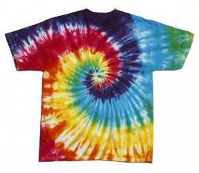 The tie dye shirt has a psychedelic pattern and bright colors.