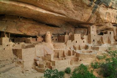 Pueblo structures at Mesa Verde, Colorado