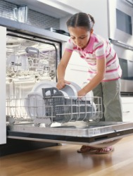 One of Jazmine's chores is to put the dishes in the dishwasher.