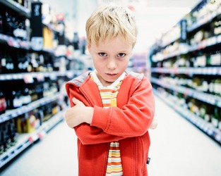 The querulous boy made grocery shopping very unpleasant for his mother.