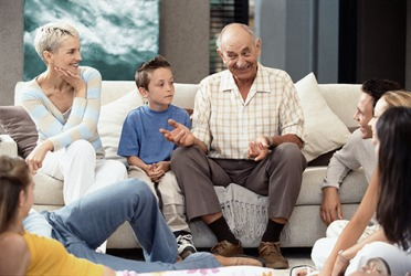 The family enjoys listening to Grandpa talk about his life because he is an exceptional raconteur.