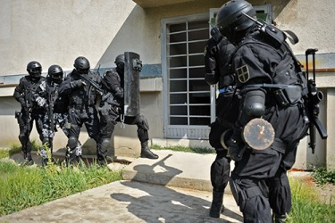 A SWAT raid drill at an abandoned building.